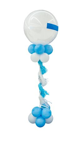 White and blue balloons for interior or event decoration isolated on white