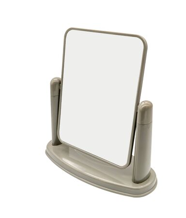 Two-ways make up mirror made of grey plastic isolated on white background. 版權商用圖片