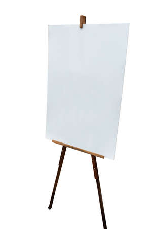 Mock up blank white sign on wood stand isolated on white background. Path selection included.