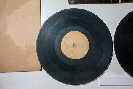 old vinyl records against white background. Vintage retro concept. Banco de Imagens