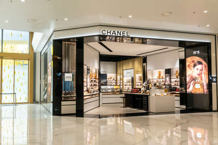 Chanel cosmetic display at Siam Paragon, Bangkok, Thailand, Nov 28, 2020 : Luxury cosmetic visual merchandising and window display. Editorial