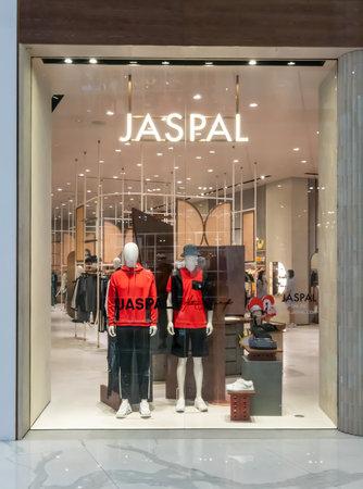 Jaspal shop at Mega Bangna, Bangkok, Thailand, Nov 28, 2020 : Fashionable brand window display. New collection of modern classic clothings showcase at the store.