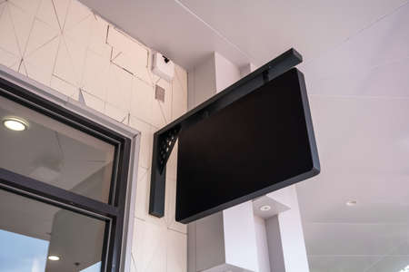 Signboard shop or restaurant. Mock up. Rectangular shape. Black sign Mock up template signage Display front shop Retail Stock fotó