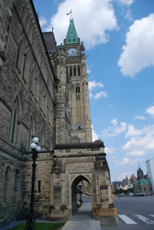 Peace Tower, Tower of Victory and Peace of the Centre Block of the Canadian parliament buildings, Ottawa, Ontario, Canada