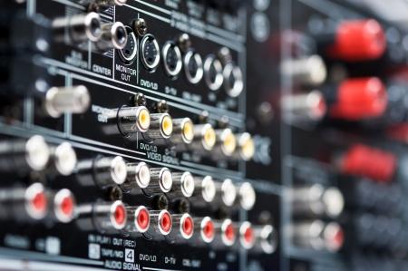 Closeup of back side Hi-Tech AV receiver's connectors