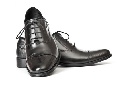 Close-up of elegant mens shoes on white background