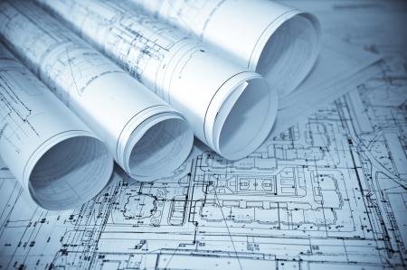 Architecture blue plans. Standard-Bild