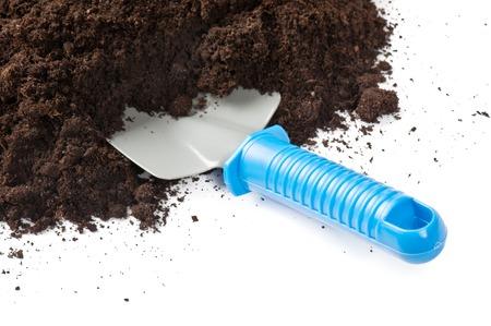 shovel in dirt: Garden Shovel and Dirt Stock Photo