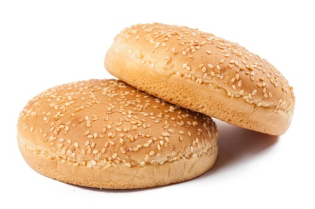 Two Burger Buns on white background