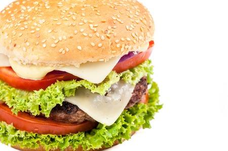 Closeup of Hamburger on white background Standard-Bild