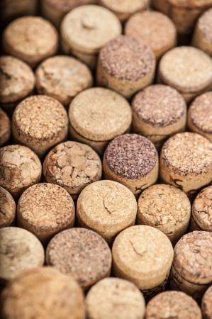 Close up of a cork wine with different variation of wine color Standard-Bild