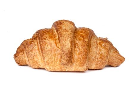 Just baked appetizing croissant on white background Standard-Bild