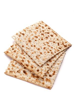 Matzo bread on white background