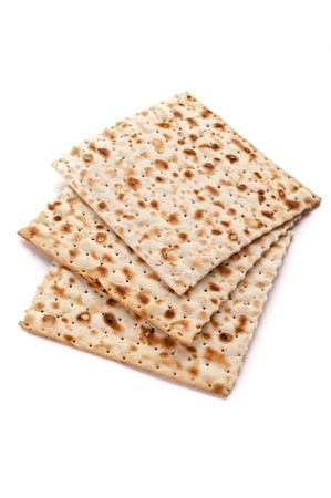 jewish cuisine: Matzo bread on white background