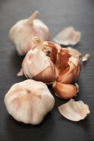 Closeup of garlic group on the table