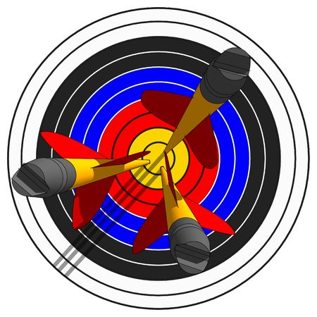 darts flying: To shoot an arrows at target