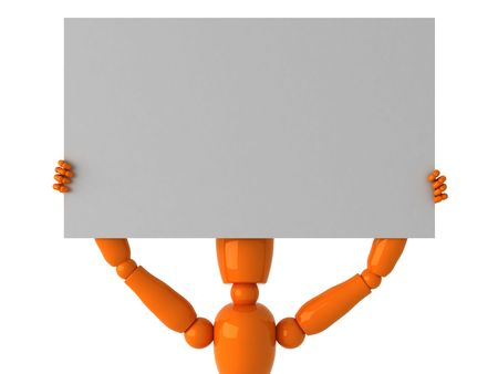 Orange mannequin with billboard Stock Photo - 1867917