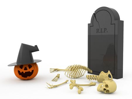 Isolated orange pumpkin. Bones. Gravestone. photo