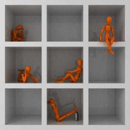 lustre: Five orange mannequins in cage