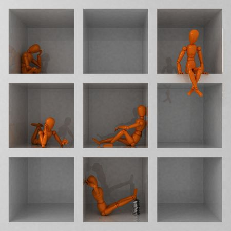 loneliness: Five orange mannequins in cage