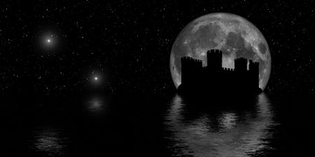 Castle silhouette in starlit night photo