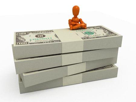 Orange mannequin with stacks of money photo