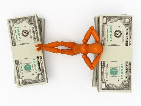lucky man: Orange mannequin with stacks of money