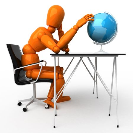 Orange mannequin with globe photo