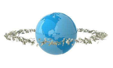 Isolated blue globe with money photo