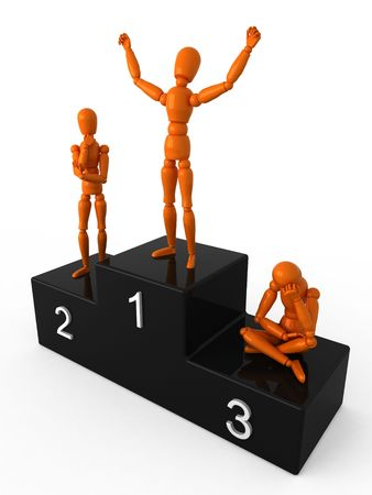 lustre: Three orange mannequin on the podium Stock Photo