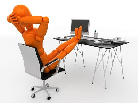 Orange mannequin and workplace photo