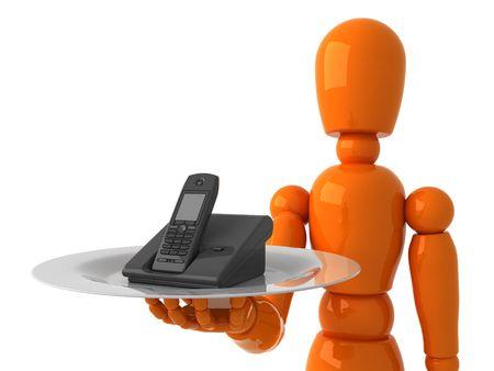 Orange mannequin with phone Stock Photo