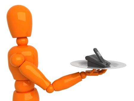 Orange mannequin with phone photo