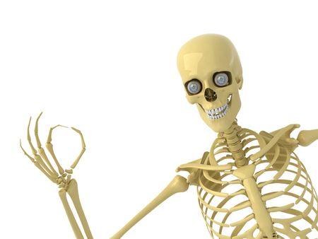 skeleton hand: Skeleton with OK Stock Photo