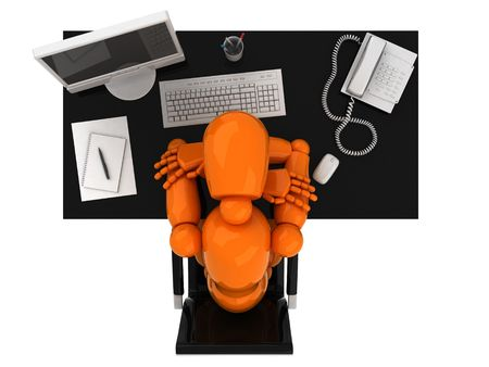 Orange mannequin and workplace Stock Photo - 1921120