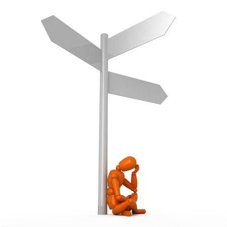 dilemma: Orange mannequin and crossroad Stock Photo