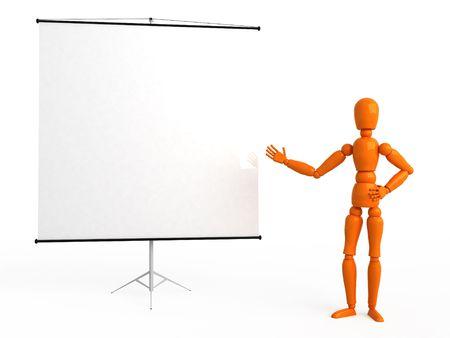 flipchart: Orange mannequin with flipchart