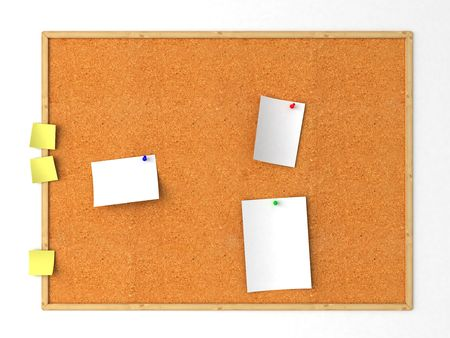 Isolated cork message board. White background photo