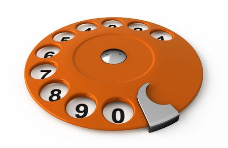dialer: Isolated old orange analogue dialer.