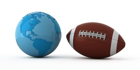 afc: Isolated blue globe and football ball