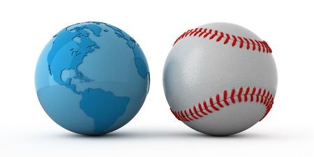 lustre: Isolated blue globe and baseball ball
