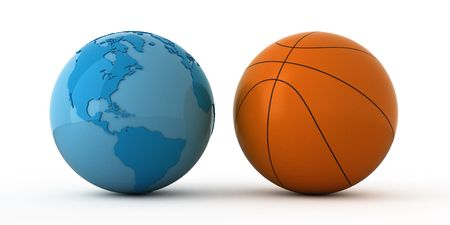 Isolated blue globe and basketball ball Stock Photo - 2698490