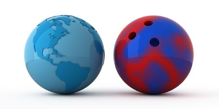 Isolated blue globe and bowling ball