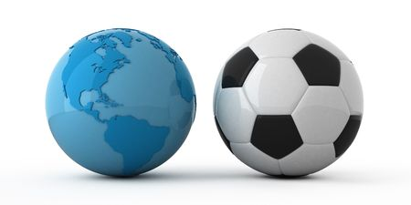 lustre: Isolated blue globe and soccer ball Stock Photo
