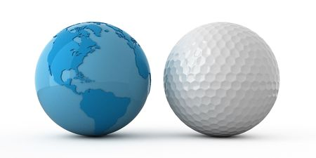 lustre: Isolated blue globe and golf ball