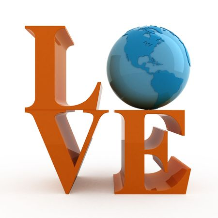 Love. Text with globe. Isolated. photo
