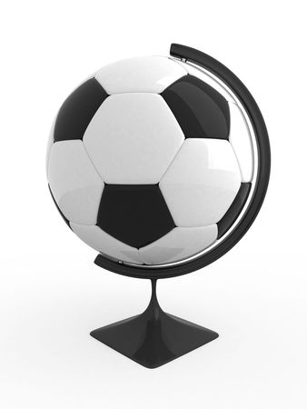 Soccer ball - terrestrial globe. Isolated. photo