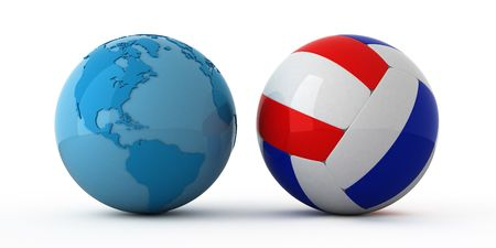 Isolated blue globe and volleyball ball Stock Photo - 2698482