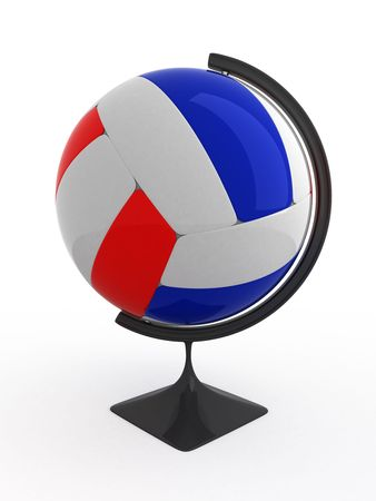 terrestrial: Volleyball ball - terrestrial globe. Isolated.