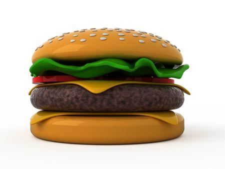 burger cartoon: Isolated hamburger on white background Stock Photo